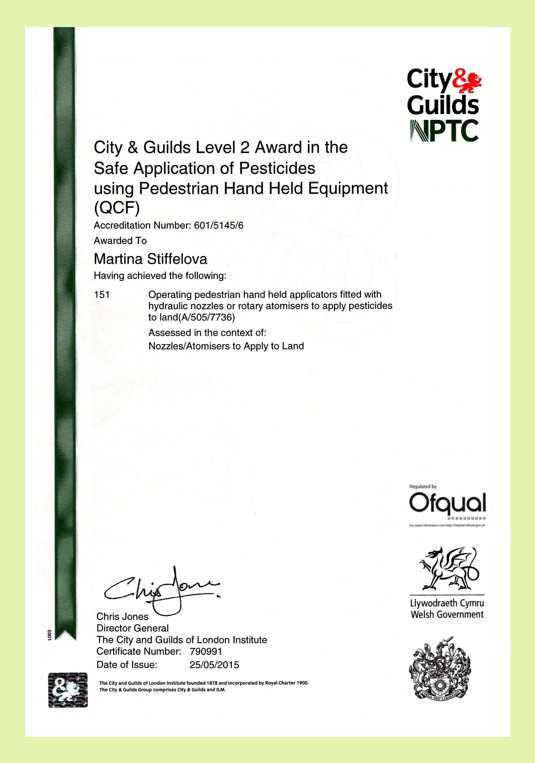 City and Guilds Spraying Certificate PA