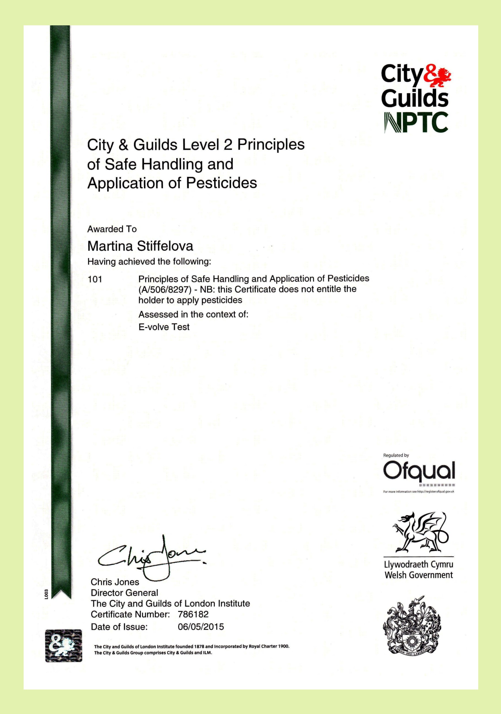 City and Guilds Spraying Certificate Pests